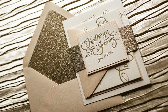 زفاف - Blush & Gold Wedding Invitation, Gold Glitter Wedding Invite, Calligraphy Invitation, Gold Invitation - Sample Set - New