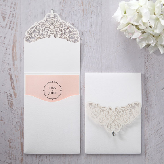 Jeweled White Lasercut Pocket Iwp14010 Pk Wedding Invitation Sample