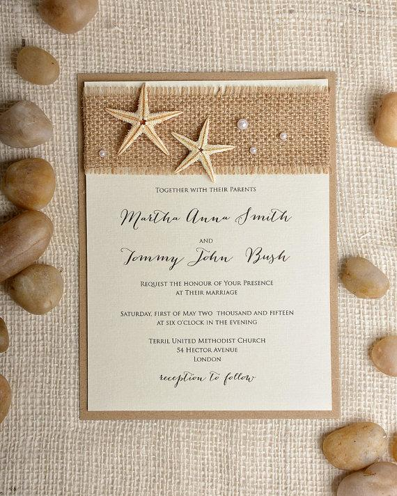Custom Listing 100 Starfish Wedding Invitation Beach Wedding