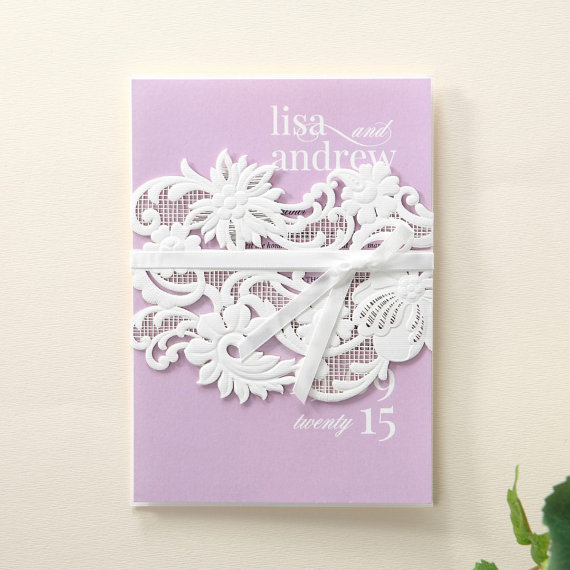 Hochzeit - White Laser Cut Wrap with Ribbon IWP14036-PP - Wedding Invitation Sample (IWP14036-PP) - New