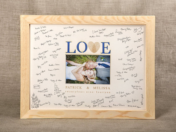 Wedding Guestbook Alternative Photoframe Wood Guestbook Memory