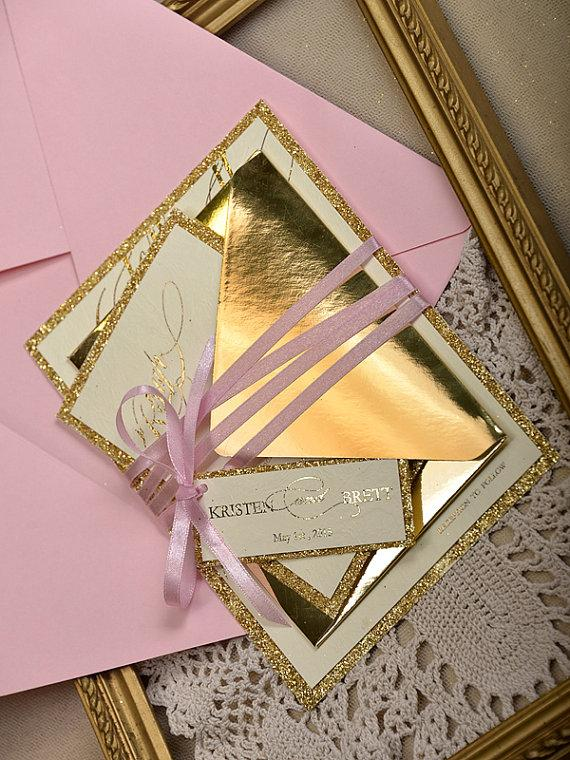 زفاف - Custom listing (20) Pink and  Gold  Wedding Invitation, Wedding Pink Lace Invitations, Glamour Inviation, 4lovepolkadots - New