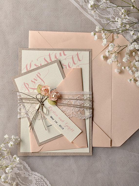 invitations grey peach wedding invitation vintage lace wedding invitations - Peach Wedding Invitations