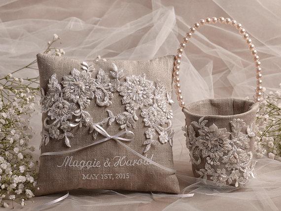 Wedding Flower Girl Basket Ring Bearer Pillow Set Shabby Chic