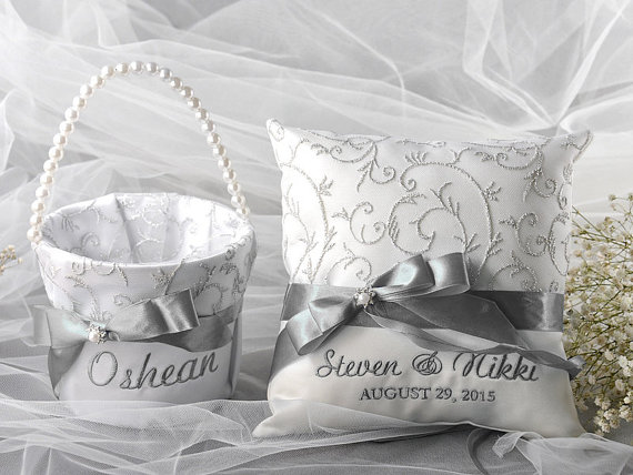 Wedding - Flower Girl Basket & Ring Bearer Pillow Set, Grey  Satin and cream Lace, - New