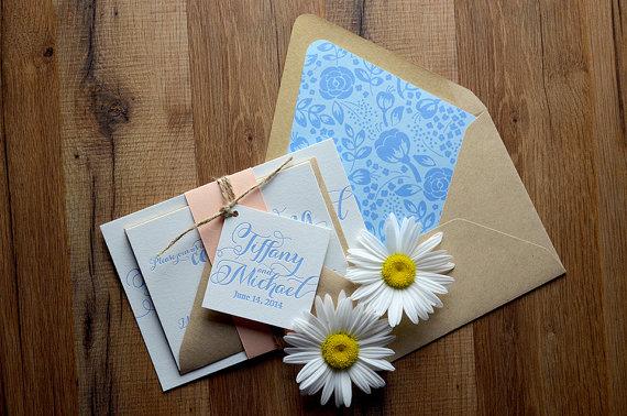 زفاف - Rustic Wedding Invitation, Peach, Light Blue & Kraft Wedding Invite, Rustic Wedding Invite, Script Invitation - SAMPLE SET - New