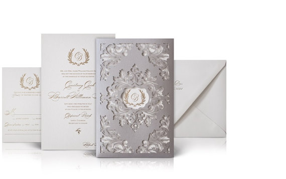 Luxury Wedding Invitations Flourished Laser Cut Sleeves A Set Of