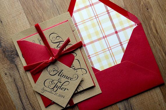 Свадьба - Rustic Wedding Invitation, Wood, Plaid & Red Velvet Wedding Invite, Rustic Wedding Invite, Calligraphy Invitation - SAMPLE SET - New