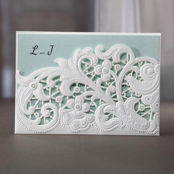 Wedding - Laser Cut Floral Pocket - Wedding Invitaiton Sample (BH3663) - New
