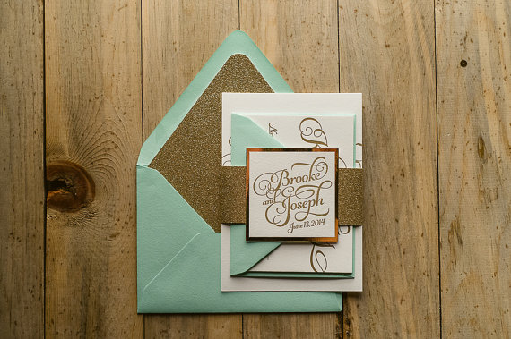Mint Gold Wedding Invitation Gold Glitter Wedding Invite