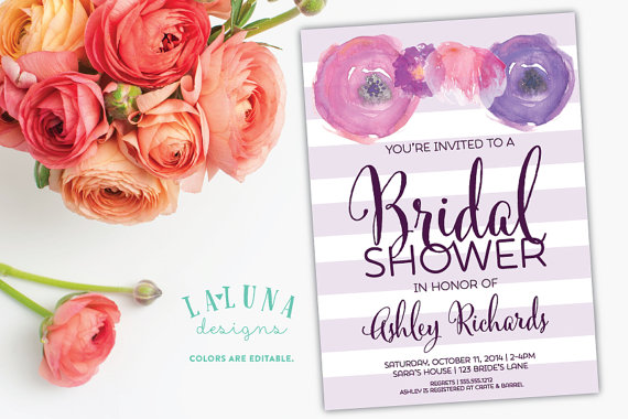 زفاف - Floral Bridal Shower Invitation, Floral Stripe Bridal Shower Invite, Watercolor Floral Invite - New
