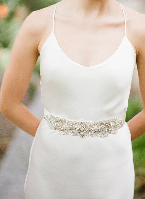 Mariage - Rosette Bridal Sash Swarovski Crystals Wedding Belt - New