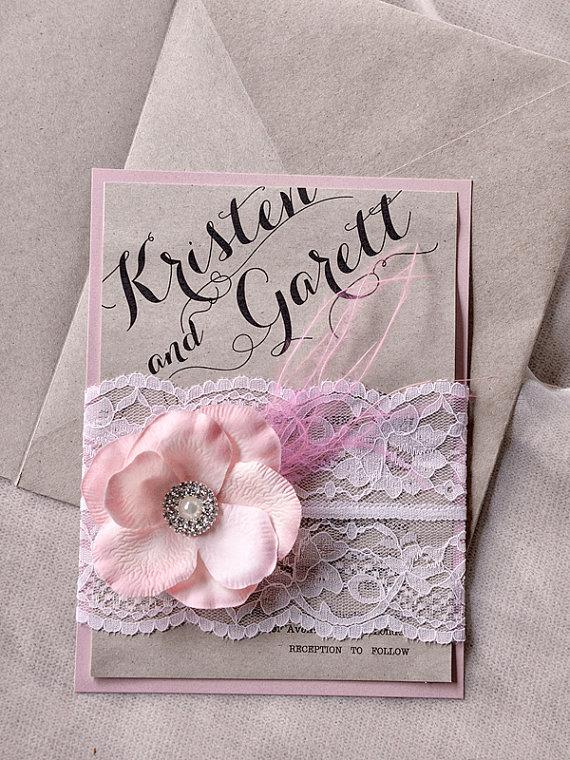 Lace Wedding Invitation   Pink Burlap Wedding Invitations