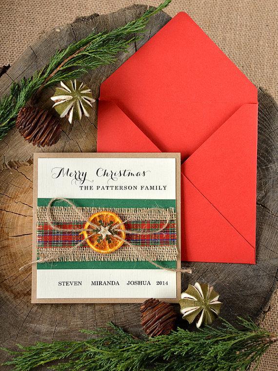 Mariage - Christmas Cards Set (10) Rustic Christmas Cards -  Snowflake Christmas Cards
