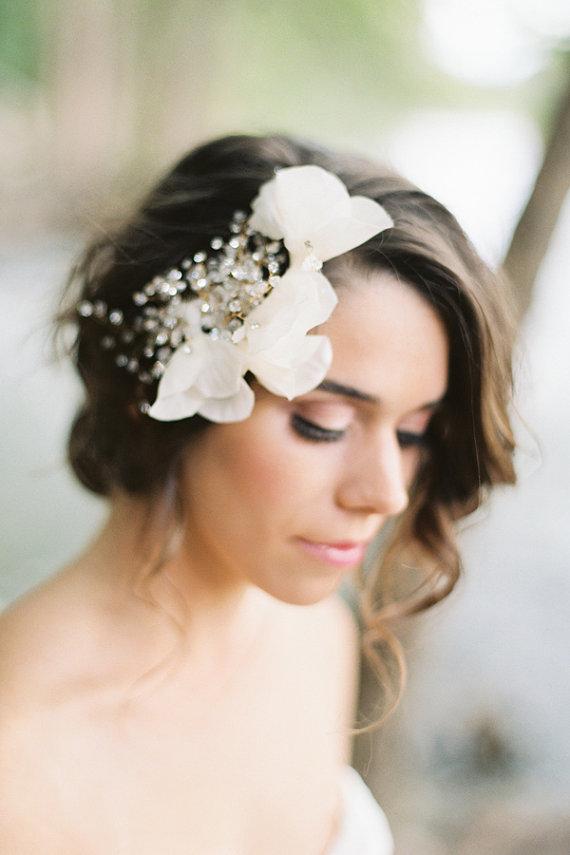 Hochzeit - Isadora Ivory Headpiece Gold Crystal Bridal Comb  Wedding - New