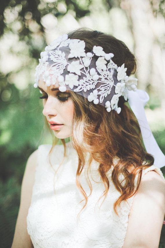 Wedding - Miley  White Flower   Hair Piece  Bridal  Wedding - New