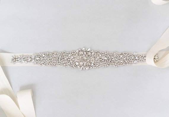 Hochzeit - Hester Bridal Sash Swarovski Crystals Wedding Belt - New