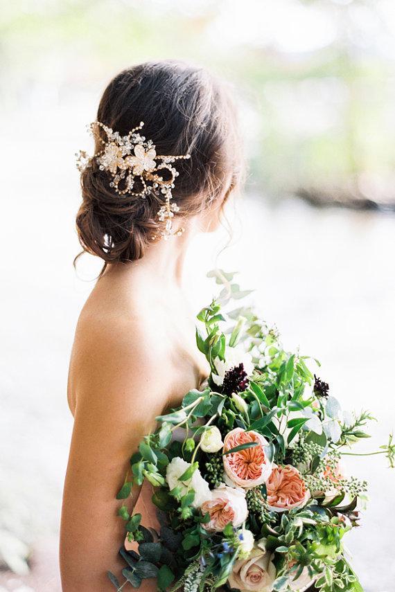 Mariage - Daria Gold Crystal Bridal Headpiece Wedding Comb - New