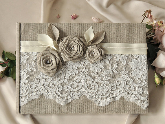 wedding guest book guestbook lace shabby chic natural linen lace rh de weddbook com shabby chic baby shower guest book