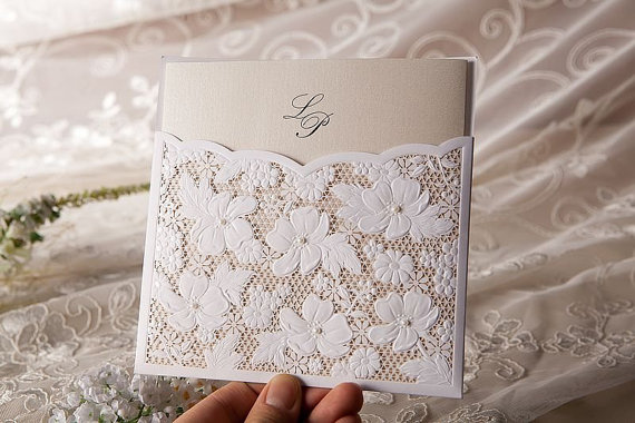 Mariage - Lace Floral Wedding Invitation in White (Set of 50) - New