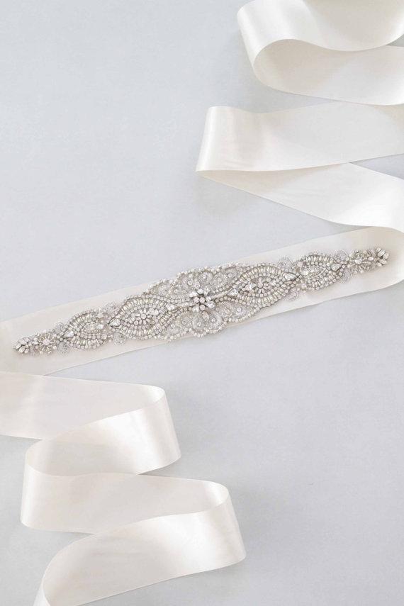 Свадьба - Dahlia  Bridal Sash Swarovski Crystals Wedding Belt - New