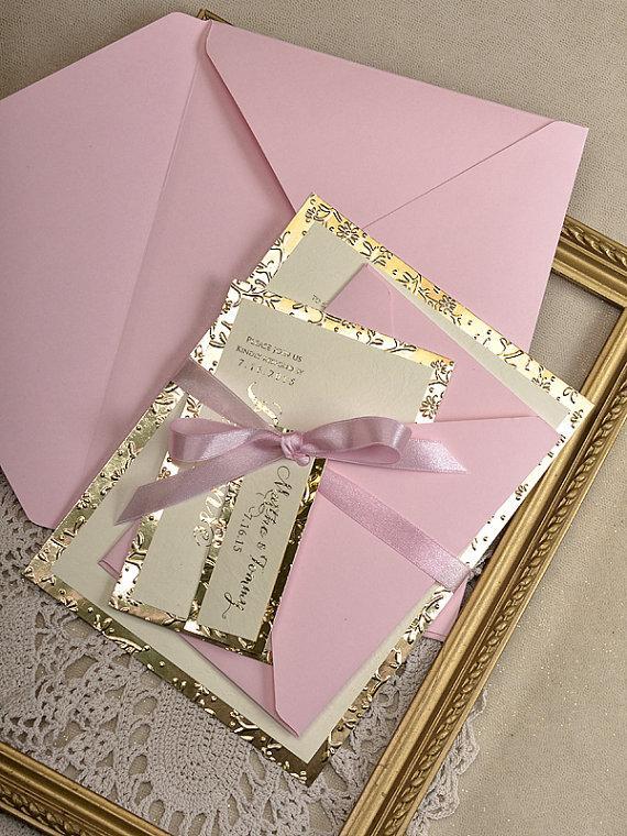زفاف - Gold and Pink Wedding Invitation -  Wedding Gold Embossed Invitations