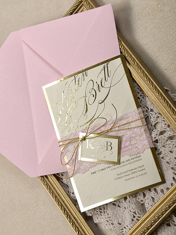 Pink And Gold Wedding Invitation Wedding Pink Lace Invitations