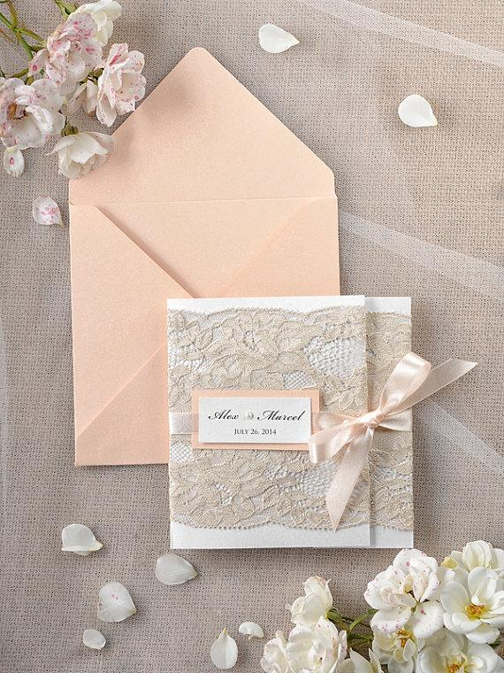 Wedding - Peach Wedding Invitations -  Lace Coral invitation