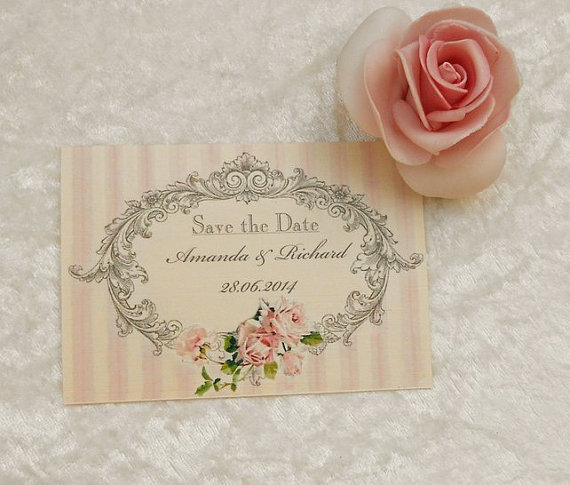 Wedding - Vintage Style Save the Date Cards - In the Pink - New