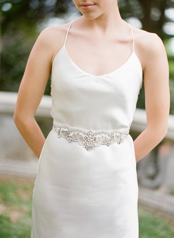 زفاف - Chiswick  Swarovski Crystals Bridal Sash Belt - New