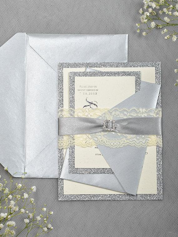 Silver Glitter Wedding Invitation - Lace Grey Invitation  2218380 ... 2240ed86a40c