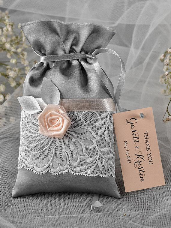 Wedding - Grey and Peach Wedding Favor Bag -  Lace Wedding Favor Bags