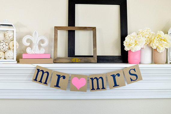 Mariage - MR MRS - Table Sign - Chair Signs - Wedding Banners - Wedding Sign - Rustic Decoration in Navy or Customize it - New