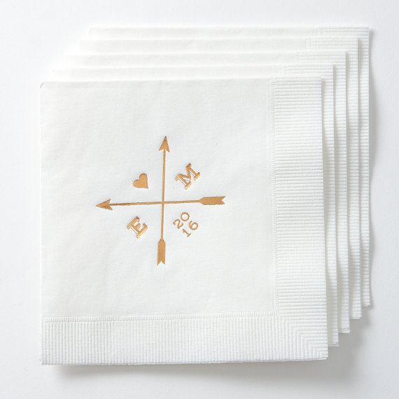 arrows personalized wedding napkins set of 50 custom cocktail