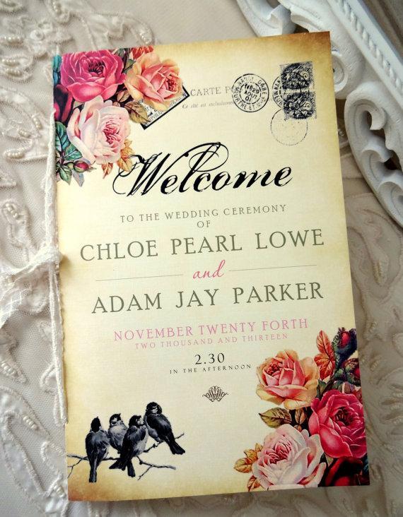 زفاف - CEREMONY PROGRAM- 8 pg - Order of Service - Fully Customized, Shabby Chic Inspired Wedding Ceremony Program - New