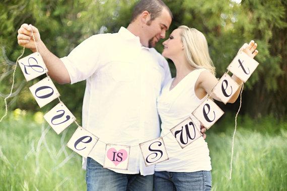 Свадьба - Love Is Sweet Banner - Wedding Banner Photo Prop - Wedding Sign - Wedding Decoration - New