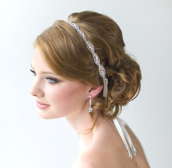 Mariage - Wedding Hair Accessory, Beaded Headband, Bridal Headband, Crystal Ribbon Headband - New