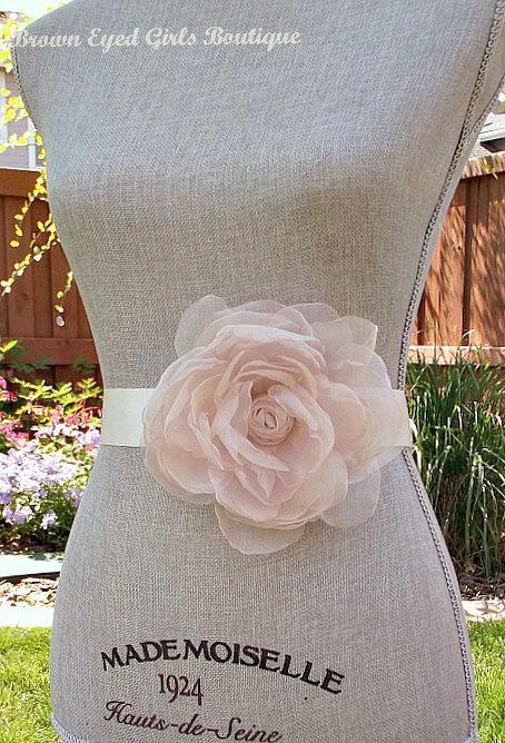 0c48f9d71274d Blush Organza Flower Bridal Sash, Blush Bridal Belt, Blush Pink Wedding Belt  - New