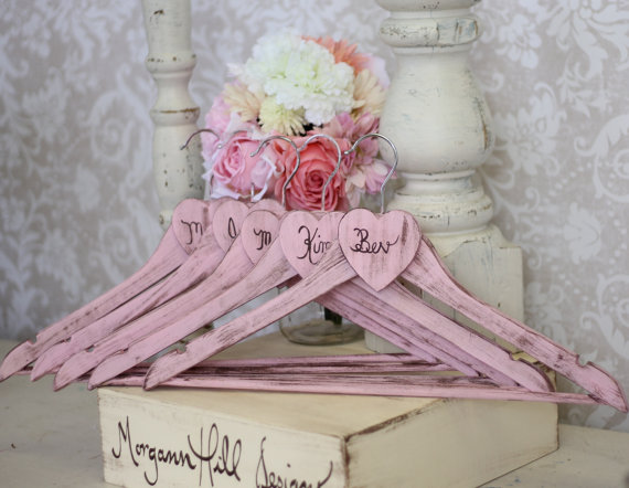 Свадьба - Personalized Wedding Hangers Shabby Chic Bridesmaid Gifts SET OF 4 (item P10497) - New
