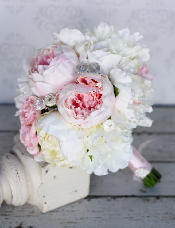 Silk bride bouquet peony peonies shabby chic diamond for Bouquet chic