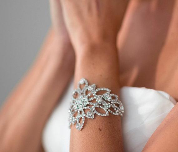 زفاف - Wedding Bracelet, Bridal Jewelry,  Bridal Bracelet, Wedding Rhinestone Bracelet - New