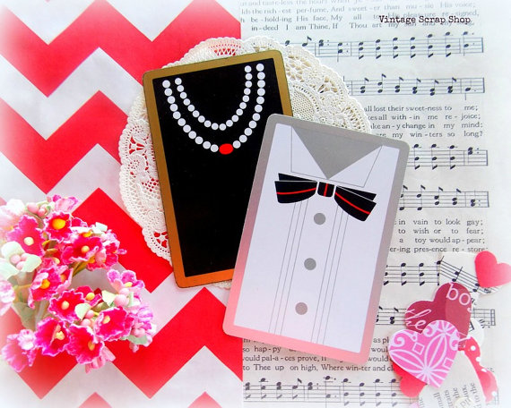 زفاف - Vintage Playing Cards - Black Tie & Pearls - New