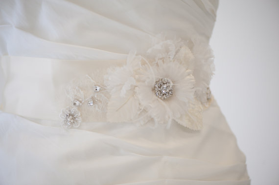 Mariage - Bridal Gown Sash, Wedding Dress Sash, Ivory Ribbon Sash, Flower wedding Gown Sash - New