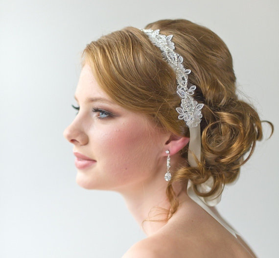Bridal Ribbon Headband Lace Luxe Satin Wedding Head Piece Hair Accessory