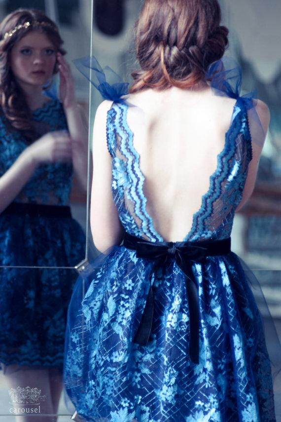 Hochzeit - Blue lace evening dress, open back dress, only one size - New