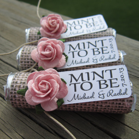 Wedding Favors Set Of 100 Mint Rolls To Be With Personalized Tag Burlap Pale Pink