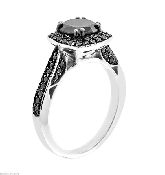 Wedding - Fancy Black Diamond Engagement Ring 14K White Gold 1.50 Carat Certified Pave Set HandMade - New