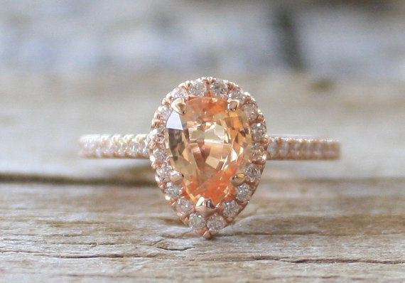 Wedding - On Hold - GIA Certified Pear Cut Peach Champagne Sapphire Diamond Ring in 14K Rose Gold - New