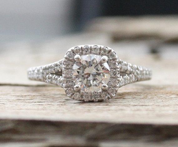 Wedding - 1.42 Ctw. Diamond Split Shank Engagement Ring in 14K White Gold - New