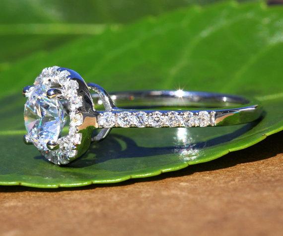 Hochzeit - 14k White gold - Diamond Engagement Ring - Halo - 3/4 carat center - Pave - Weddings- Luxury- Brides - Bp005 - New